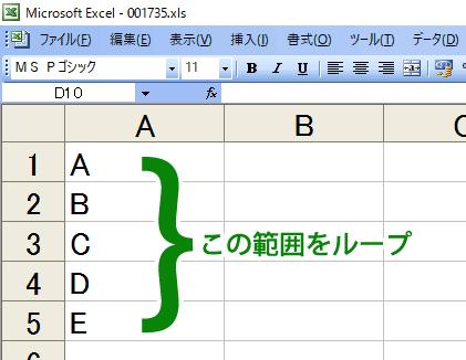 ワークシートの A1:A5 の範囲を VBA でループする。