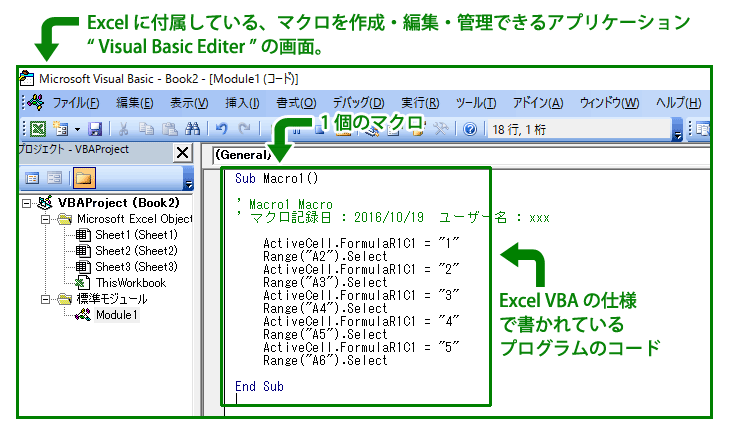 マクロの中身は、 Excel VBA のプログラムになっている。 Sub から End Sub までが、 1 個のマクロになっている。この文章をソースコード( source code )と呼ぶらしいです。