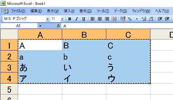 Excel の表をコピー Ctrl+C します。画像は、 A1:C4 の範囲をコピーしています。