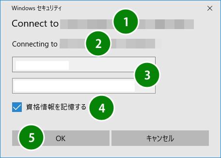 Windows セキュリティーの画面。ユーザー名、パスワードを入力する。