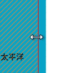 カシミール 3D の画面 : 選択範囲を左右に拡大・縮小。