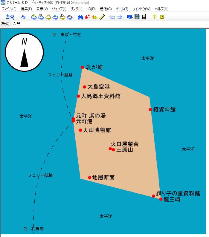 カシミール 3D の画面 : 自作のビットマップ地図を表示。