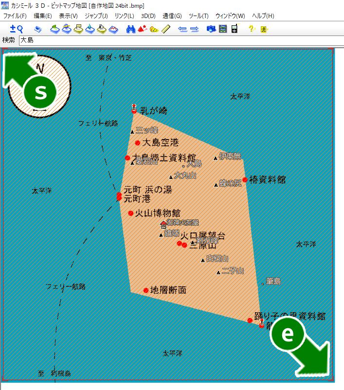 カシミール 3D の画面 : 選択範囲をドラッグ&ドロップ。