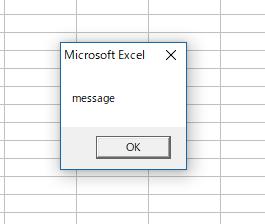 MsgBox 関数でメッセージを表示した結果。