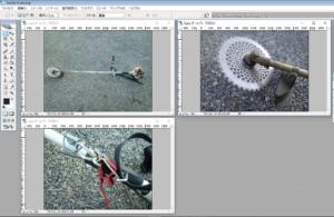 photoshop で、複数ファイルを開いている。