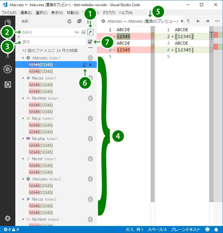 VScode の検索、置換の入力画面。